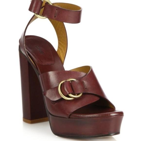 1e76ea79be7 NWT Chloé Kingsley Platform Leather Sandals